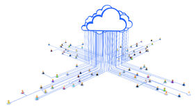 Cartoon Crowd, Link Cloud. Crowd of small symbolic 3d figures linked by lines Stock Photo