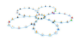 Cartoon Crowd, Link Flower. Crowd of small symbolic 3d figures linked by lines, isolated Royalty Free Stock Photos