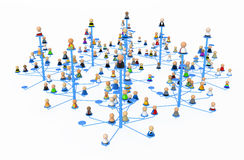 Cartoon Crowd, Link Forest. Crowd of small symbolic 3d figures, isolated Royalty Free Stock Photos