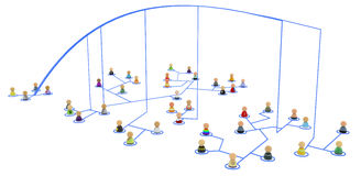 Cartoon Crowd, Link Lines Falling Royalty Free Stock Image