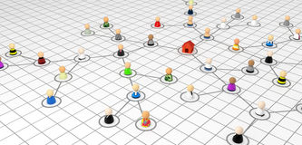 Cartoon Crowd, Link Plan House. Crowd of small symbolic 3d figures linked by lines, isolated Stock Images