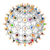Cartoon Crowd, Link Plan Sphere. Crowd of small symbolic 3d figures linked by lines, isolated vector illustration
