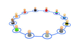 Cartoon Crowd, Link Ring. Crowd of small symbolic 3d figures linked by lines, isolated Royalty Free Stock Photos