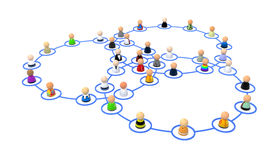 Cartoon Crowd, Link Ring Overlap. Crowd of small symbolic 3d figures linked by lines, isolated Royalty Free Stock Images