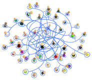 Cartoon Crowd, Link Tangled. Crowd of small symbolic 3d figures linked by lines, tangled chaotic network, isolated Stock Image