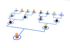 Cartoon Crowd, Link Tree. Crowd of small symbolic 3d figures linked by lines, isolated Stock Photography