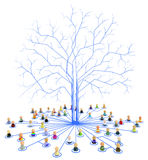 Cartoon Crowd, Link Tree Roots Stock Images
