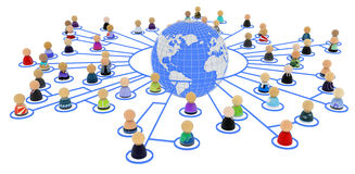 Cartoon Crowd, Link World Ring. Crowd of small symbolic 3d figures linked by lines, isolated Royalty Free Stock Images