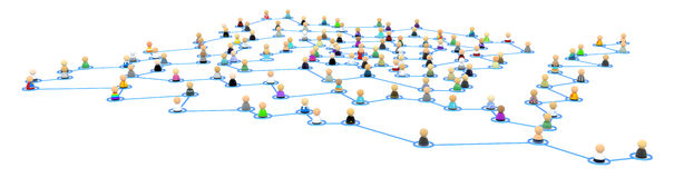 Cartoon Crowd Links, Corner Spiral Royalty Free Stock Images