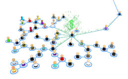 Cartoon Crowd Links, Money Gather. Crowd of small symbolic 3d figures linked by lines Stock Photos