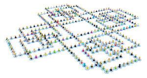 Cartoon Crowd Links, Square Cross Royalty Free Stock Photos