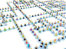 Cartoon Crowd Links, Straight Angles. Crowd of small symbolic 3d figures linked by lines Royalty Free Stock Photography