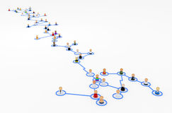 Cartoon Crowd, Long Chain. Crowd of small symbolic 3d figures linked by lines, isolated Royalty Free Stock Photos
