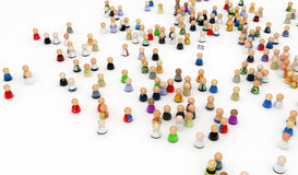 Cartoon Crowd, Mail Recipient. Crowd of small symbolic 3d figures, isolated Stock Photos