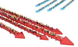 Cartoon Crowd, Movement Arrows Stock Image