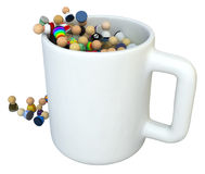 Cartoon Crowd, Mug. Crowd of small symbolic 3d figures, over white, isolated Royalty Free Stock Photos