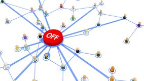 Cartoon Crowd, Network Off Button. Crowd of small symbolic 3d figures linked by lines, turn off button, over white, isolated, horizontal Stock Images