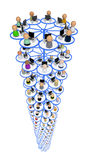 Cartoon Crowd, Network Pillar. Crowd of small symbolic 3d computer user figures linked by lines, isolated stock illustration