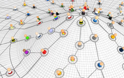 Cartoon Crowd, Network Plan Hill. Crowd of small symbolic 3d figures linked by lines, isolated royalty free illustration