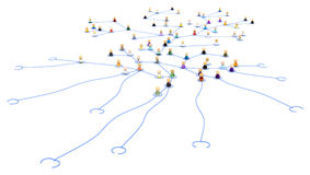 Cartoon Crowd, Network Tentacles Royalty Free Stock Photo