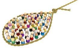 Cartoon Crowd, Noose. Crowd of small symbolic figures in rope noose, 3d illustration, horizontal, isolated, over white Stock Images