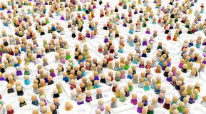 Cartoon Crowd, Numbers People. Crowd of small symbolic figures among white numbers, 3d illustration, horizontal Stock Photo