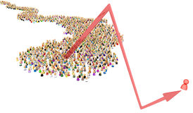 Cartoon Crowd, One Bounce Arrow. Crowd of small symbolic figures, one bounce arrow, 3d illustration, horizontal, over white Stock Image