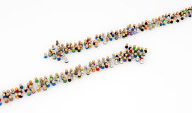 Cartoon Crowd, Opposite Arrows Royalty Free Stock Images