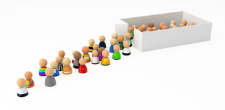 Cartoon Crowd, Out of the Box. Crowd of small symbolic 3d figures, isolated vector illustration