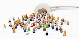 Cartoon Crowd, Pass Gate. Crowd of small symbolic 3d figures, isolated Stock Photo