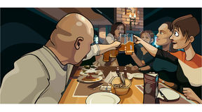 Cartoon crowd of people clink mugs to the feast. Celebratory meal Stock Images
