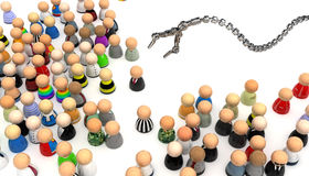 Cartoon Crowd, Picked. Crowd of small symbolic 3d figures, isolated Royalty Free Stock Photo