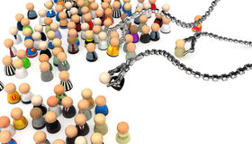 Cartoon Crowd, Picked Up. Crowd of small symbolic 3d figures, isolated Royalty Free Stock Images