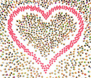 Cartoon Crowd, Pink Heart Shape Royalty Free Stock Image