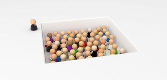 Cartoon Crowd, In the Pit. Crowd of small symbolic 3d figures, isolated Royalty Free Stock Images