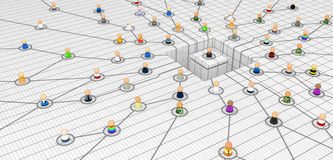 Cartoon Crowd, Planned Network. Crowd of small symbolic 3d figures linked by lines, isolated Royalty Free Stock Images