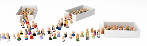 Cartoon Crowd, Pour Out. Crowd of small symbolic 3d figures, isolated Royalty Free Stock Photography