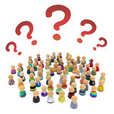 Cartoon Crowd, Questions. Crowd of small symbolic 3d figures, with question marks, over white Stock Photography