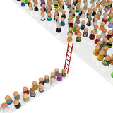 Cartoon Crowd, Red Ladder Royalty Free Stock Image