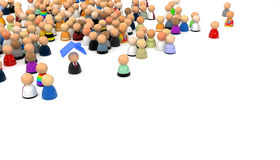 Cartoon Crowd, Roof Over One's Head. Crowd of small symbolic 3d figures, isolated Stock Photos