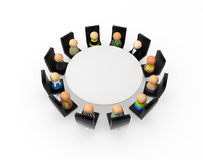 Cartoon Crowd, Round Table Royalty Free Stock Images