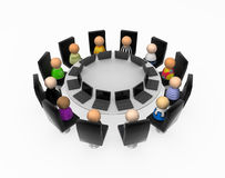 Cartoon Crowd, Round Table Laptops. Crowd of small symbolic 3d figures, isolated Stock Photos