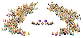 Cartoon Crowd, Royal Royalty Free Stock Photography