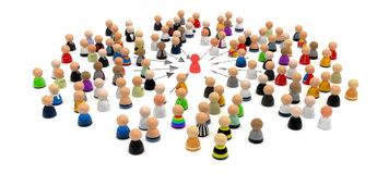 Cartoon Crowd, Seize. Crowd of small symbolic 3d figures, isolated Stock Image