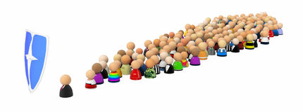Cartoon Crowd, Shield. Crowd of small symbolic 3d figures with shield, isolated Stock Photography