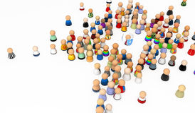 Cartoon Crowd, Shielded Royalty Free Stock Photo