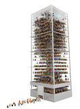Cartoon Crowd, Skyscraper. Crowd of small symbolic 3d figures in a building, over white, isolated Royalty Free Stock Photography
