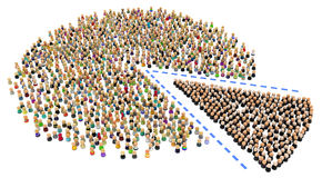 Cartoon Crowd, Slice. Crowd of small symbolic 3d figures, over white Royalty Free Stock Images