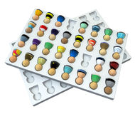 Cartoon Crowd, Slotted Set. Crowd of small symbolic 3d figures, over white, isolated Stock Photography