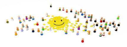 Cartoon Crowd, Smiley Jigsaw Stock Images